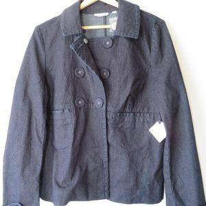Halogen Denim Look 3 Button Pea Coat Swing Coat